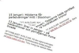 Skärmklipp från Aftonbladet